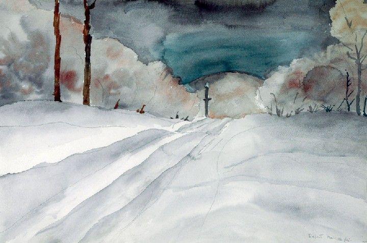 Rafał MALCZEWSKI (1892 - 1965) Pejzaż ołówek, akwarela, papier, 36 x 54 cm; sygn. p. d.: Rafał Malczewski (ołówkiem)