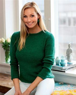Strik selv: Grøn sweater med struktureffekt