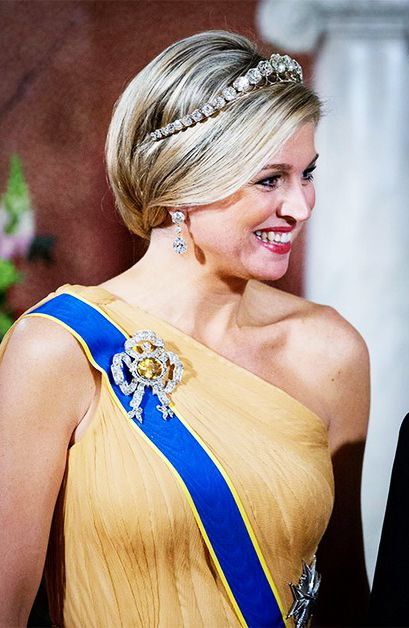 04.04.14...Queen Maxima of The Netherlands before a banquet at the Royal Palace in Amsterdam, The Netherlands.