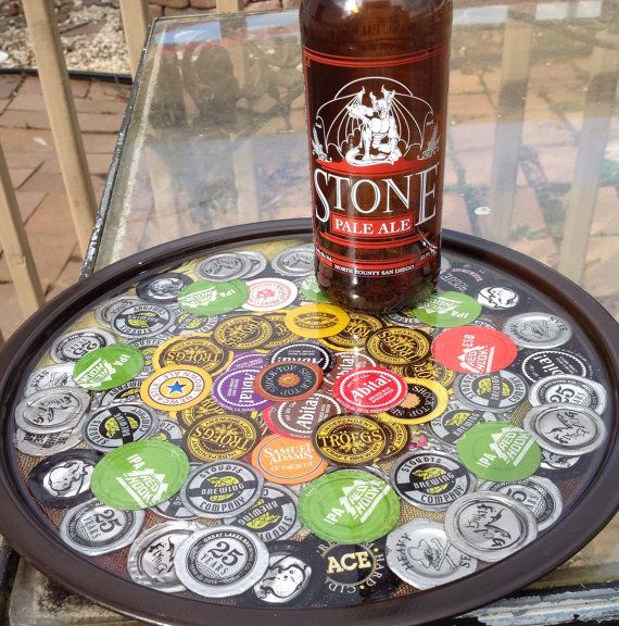 Recycled bottle cap tray http for How to make a table out of bottle caps