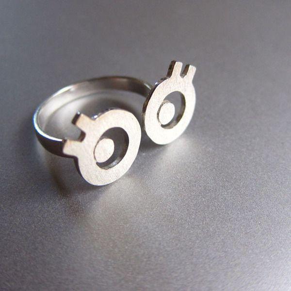 faltar ojos saltones - anillo de plata hecho a man de Sonriendo anillo de plata platero y joyería por DaWanda.com