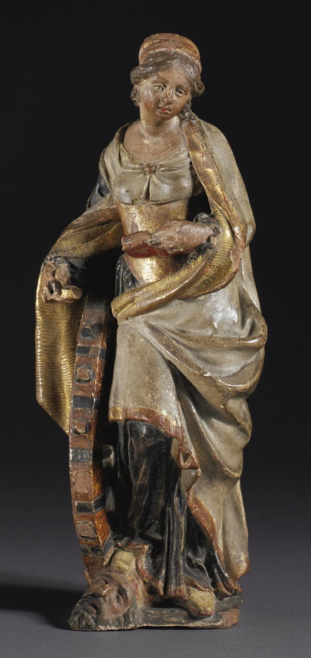 AN ITALIAN GILT AND PAINTED TERRACOTTA FIGURE OF SAINT CATHERINE WITH THE WHEEL  LATE 16TH CENTURY