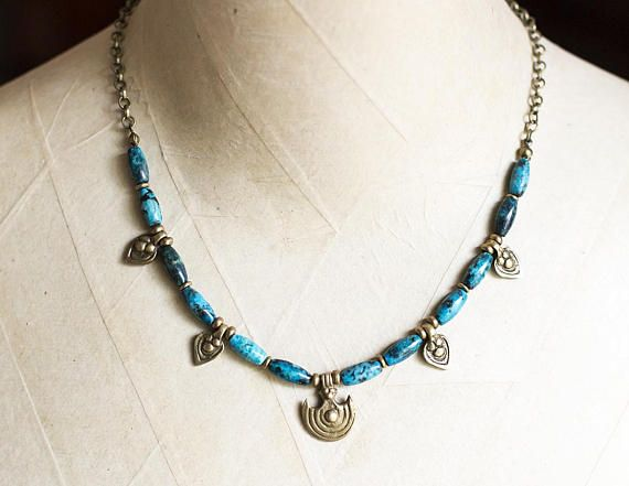 African Turquoise and Indian Brass Necklace