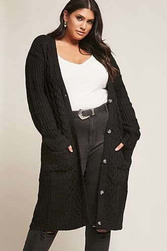 Plus Size Cable Knit Cardigan Products Pinterest Cable Knit