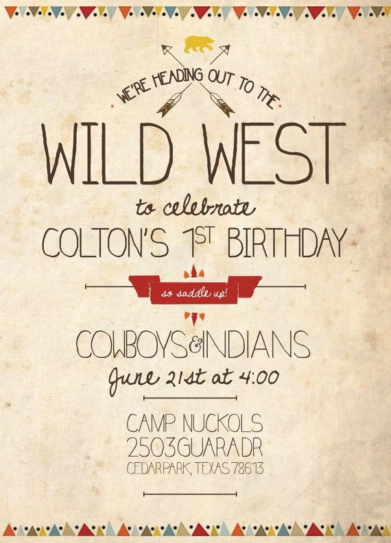 Cowboys and Indians Birthday Invitation by DoodleDogCreative. Boy party theme, boy party invitation, cowboys and indians, wild west theme  https://www.etsy.com/shop/DoodleDogCreative www.doodledogcreative.com