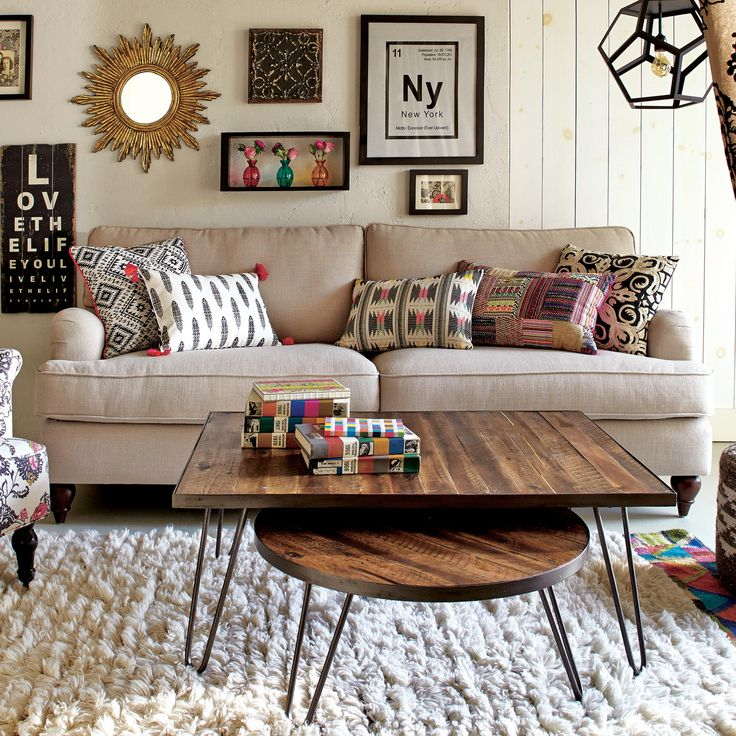 Rectangular Wood Hairpin Coffee Table | World Market $190