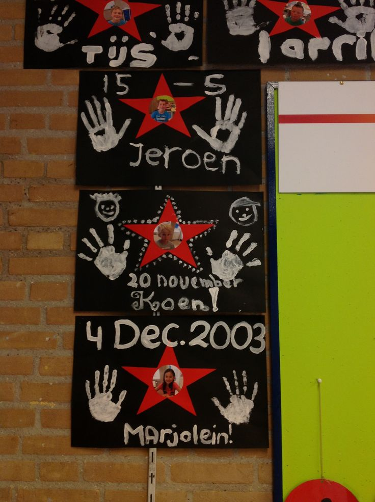 Verjaardagskalender schooljaar 2013-2014 Onze eigen Walk of Fame... Ik maakte dit met mijn klas en wij maakten er placemats van! De kids vinden dit super!