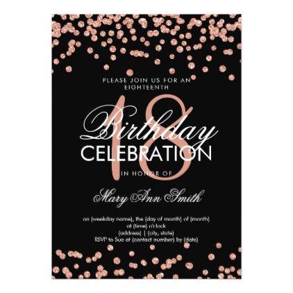 Elegant 18th Birthday Rose Gold Glitter Confetti Invitation Zazzle