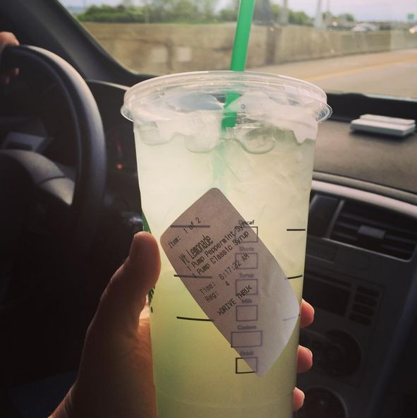 secret drink at Starbucks: peppermint lemonade ~lemonade with one pump sweetener and one pump peppermint