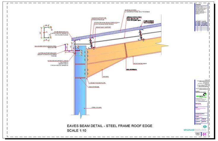 Steel Hangar Portal Frame Roof Eaves Beam Detail Typical