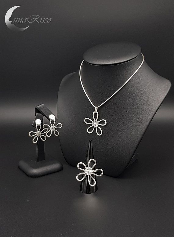 Sterling silver flowers jewellery set - LunaRisso handmade