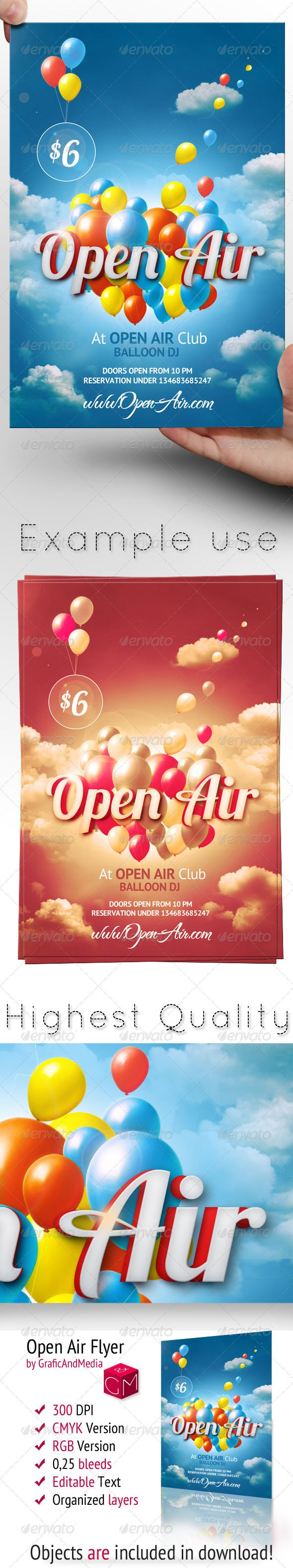 Open Air Flyer Template #GraphicRiver Open Air Flyer Template This Open Air flyer is perfect for following flyer templates / Poster templates: Summer Flyer, Spring Flyer, Spring Break Flyer, Birthday Flyer, Outdoor flyer, Church Flyer or even as a nightclub flyer! Files contain CMYK Template RGB Template Documentation with non-standard fonts (Download Links) Files feature 6×4Inch Print Ready CMYK High Quality 300dpi 0,25Inch Bleed (0,125 on each side) Organized Groups...