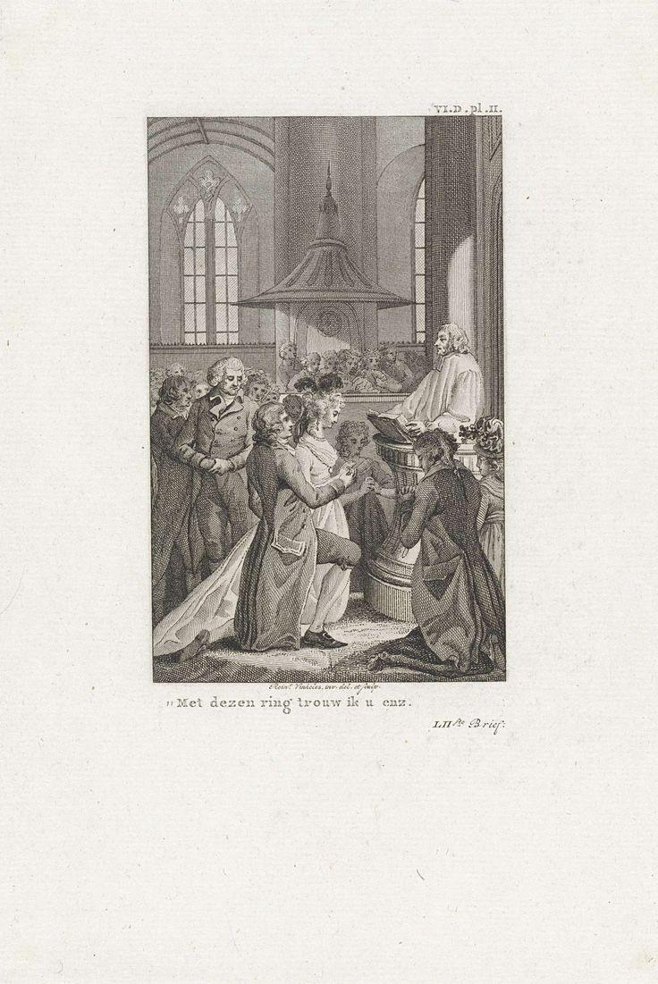 Reinier Vinkeles   Kerkelijke huwelijksceremonie, Reinier Vinkeles, 1797 - 1802   In een kerk wordt een huwelijk voltrokken. De bruidegom schuift een ring om de vinger van zijn geliefde.