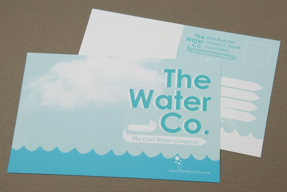 Illustrative Water Utilities Postcard Template :  A water utilities company could utilize this postcard for promotional purposes. The illustrative style of the postcard adds a playful element while still maintaining a degree of professionalism essential to a utilities company. #Inkd