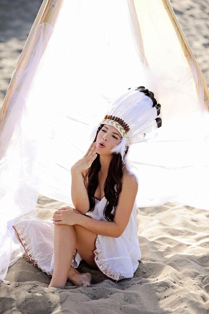 #Senior Portrait #Styled Senior portrait # Indian headdress #Native American #beach photos #Free people dress #teepee #photography #photos of women