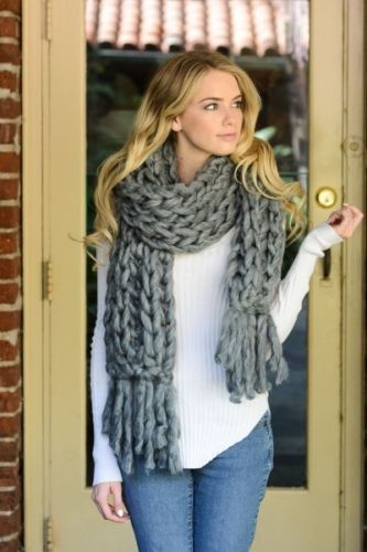 Handmade Gray Heavy Chunky Sweater Yarn Super Soft Cable Knit Long Scarf