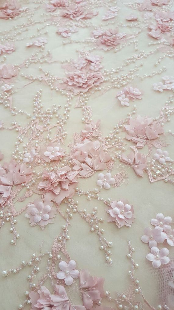 Discount 20% for 5m Salmon pink 3D lace fabric, Luxury hand made pearl beads by 3D flowers, Embroidered lace, Wedding, Bridal lace