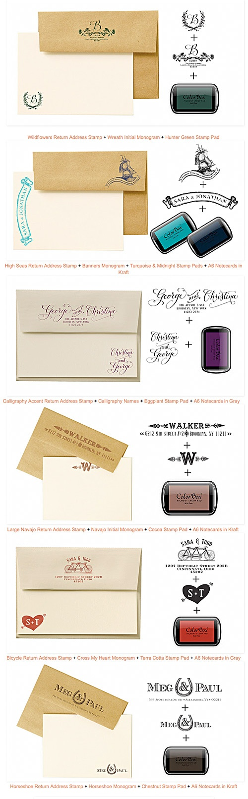 Custom Rubber Stamp Ideas from Antiquaria. They design and produce custom stamps for DIY stationery sets.