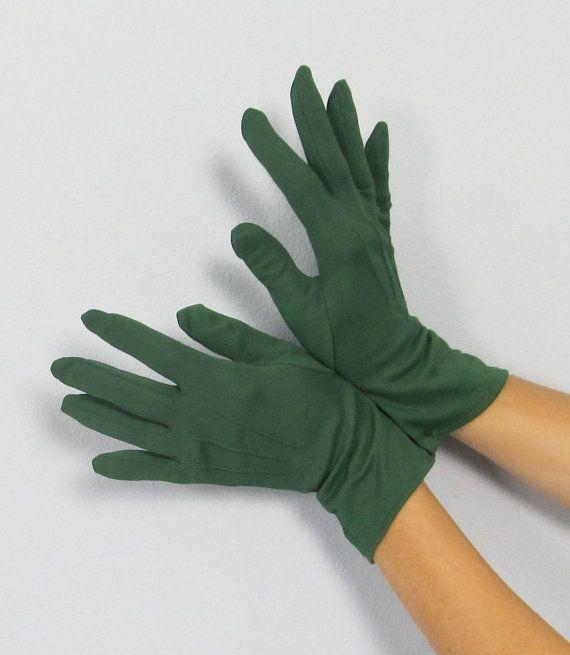 vintage forrest green gloves | Vintage 1950's FOREST GREEN Nylon Wrist Gloves