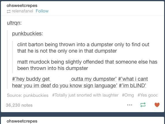 Matt Murdock And Clint Barton Bland Marvel Headcanon