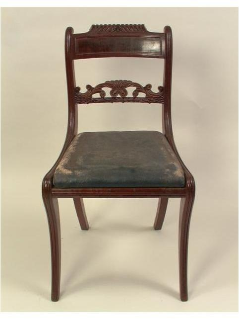 1 from set of 12 side chairs, 1815-1820, Mahogany Federal