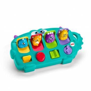 Fisher-Price Monster Pop-Up Verrassing Wanneer jouw kindje de knopjes voor een luikje met een cijfer schuift, indrukt en draait, schieten de vier kleine vrolijke monstertjes omhoog om snel even hallo te zeggen. Dit is leuk, spannend én stimuleert de fijn motorische ...