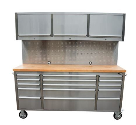 72 Fifteen Drawer Stainless Steel Tool Chest with Pegboard and Cabinets Features: 430 grade, anti-fingerprint stainless steel 15 drawers with liner included