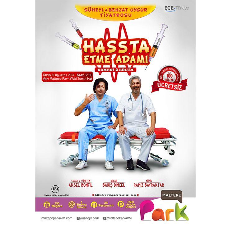 Süheyl ve Behzat Uygur Tiyatrosu'nun yeni komedi oyunu Hasta Etme Adamı bugün saat 22:00'da #MaltepePark zemin katında! Büyük bir kahkaha tufanı ile gülerken düşündürmeyi hededfleyen oyun, günümüzde hastanelerde doktorlar ile sağlık personellerinin başına gelen trajikomik olayları işliyor.