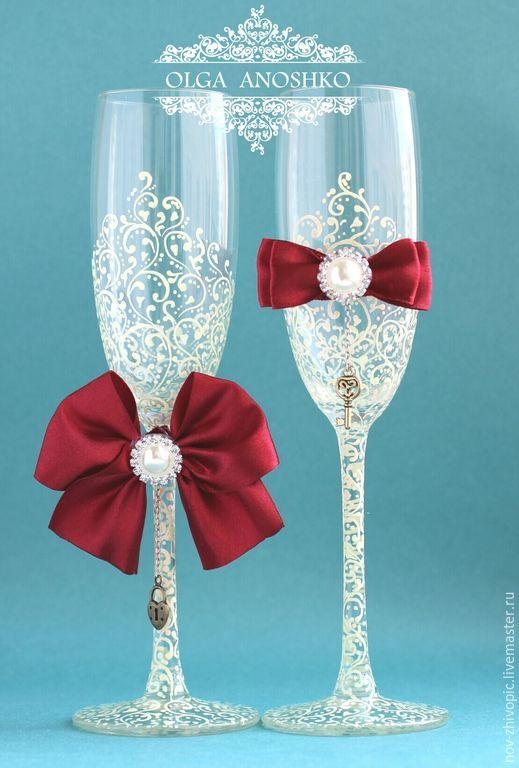 """Купить Свадебные бокалы """"Красивая пара"""". Роспись. - бокалы для ..."""