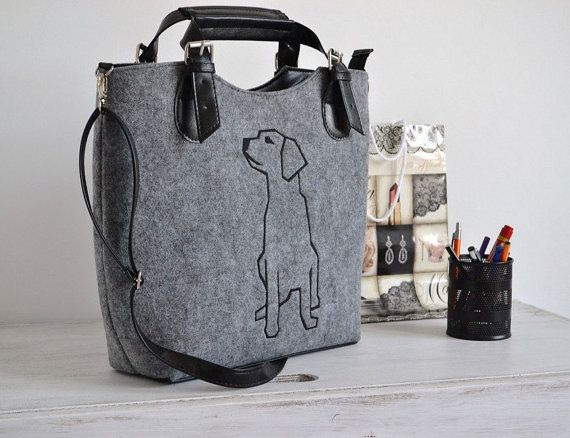 Dog felt bag  for those who love dogs Purse Dog Handbag  Gifts