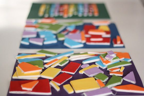 Mosaics made with painted styrofoam meat/produce trays. Provides scissors practice when cutting the tiles, then kids glue the tiles to a dark background to make the colors pop!