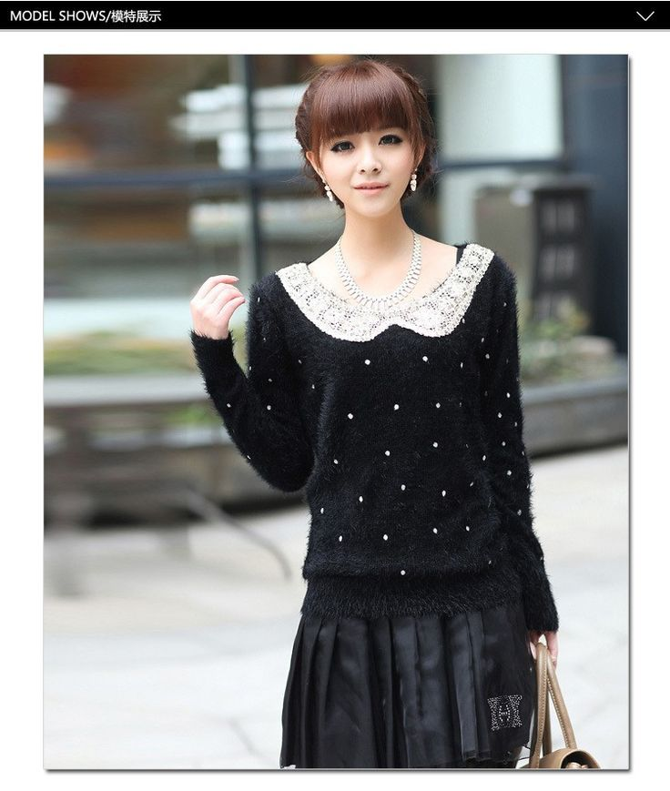 nice Women Winter Casual Peter Pan Collar Loose Knitted Sweaters and Pulllovers Lady Long Sleeve Basic Shirt Solid Pull Femme Tops
