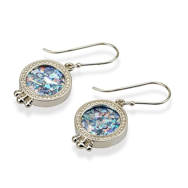 """925 Sterling Silver, Roman GlassSize: 15 x 15 mm / 0.6 x 0.6 """"These one of a kind sterling silver earrings feature a stunning cut of ancient Roman glass d"""