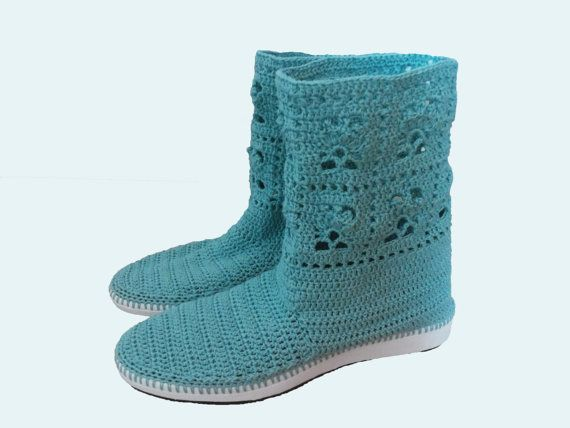 Turquoise Crochet Lace Boots for Women and Teen by CatanaHandmade
