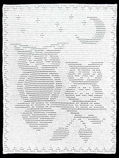 """Filet crochet pattern, $7. Would make a cute baby blanket! Crocheted with size H/8/5mm hook and 29 oz/1,970 yds of worsted-weight yarn. Size: 40""""W x 55""""H."""