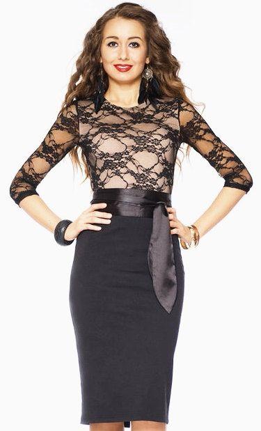 Kombinierte schwarz  Beige Kleid Damenkleider Elegant Kleid
