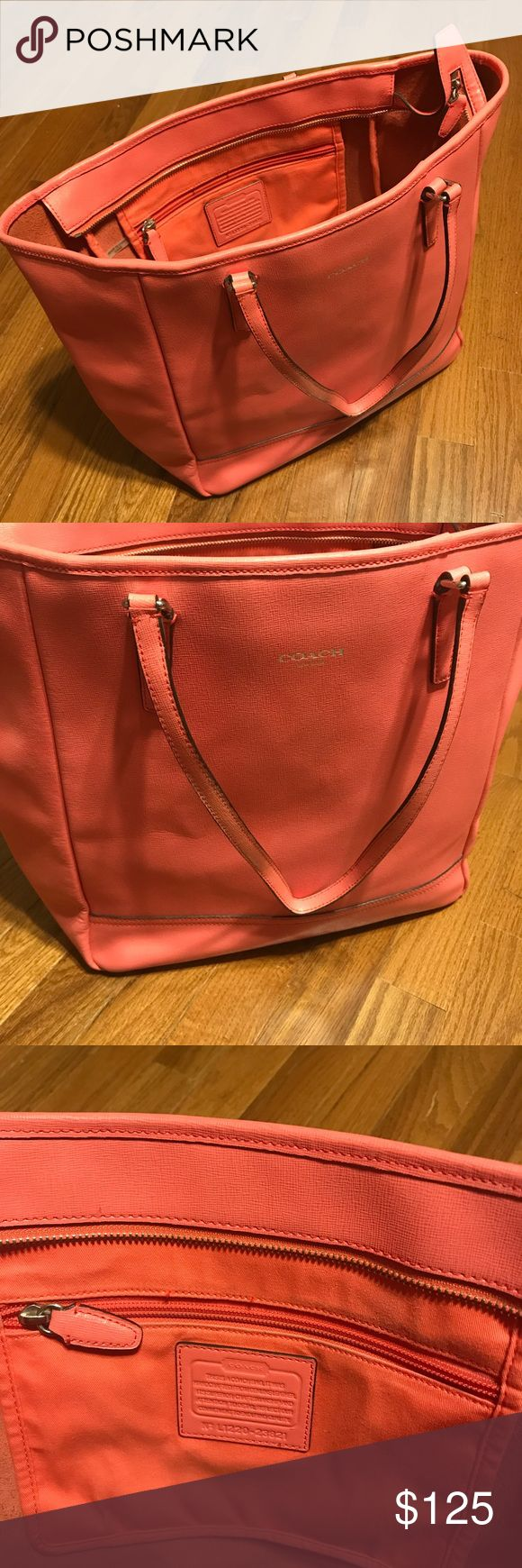 Coach purse Beautiful coral/pinkish large coach purse. Used but has a lot of life left once cleaned. Coach Bags Totes