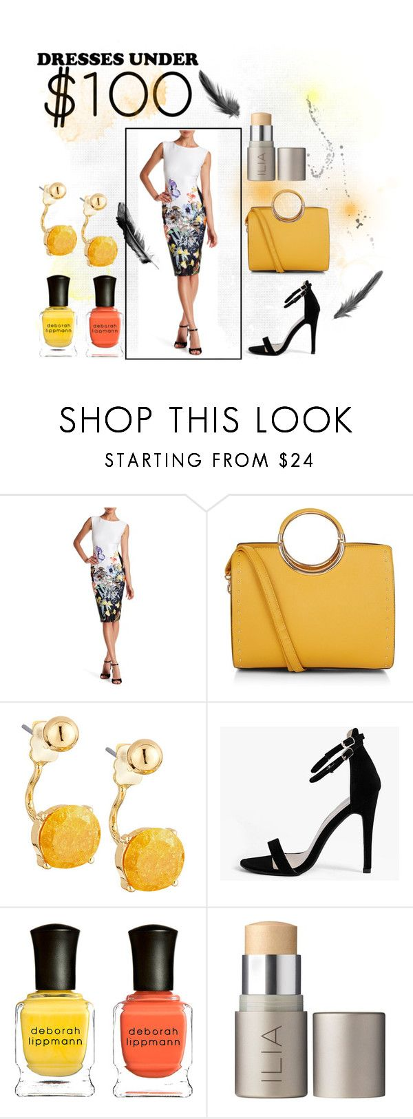 """""""This outfit is goals!!Dress under $100 and stylish :)"""" by memermaid70 ❤ liked on Polyvore featuring S.L. Fashions, New Look, Lydell NYC, Boohoo, Deborah Lippmann and Ilia"""