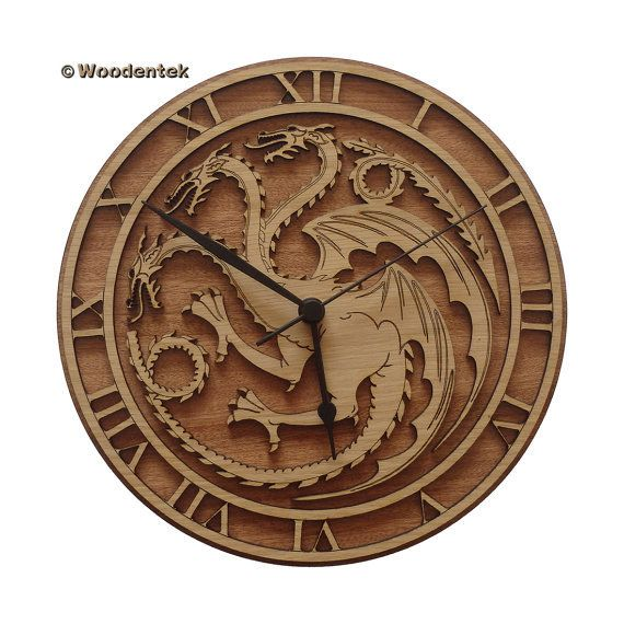 Targaryen Wood Clock