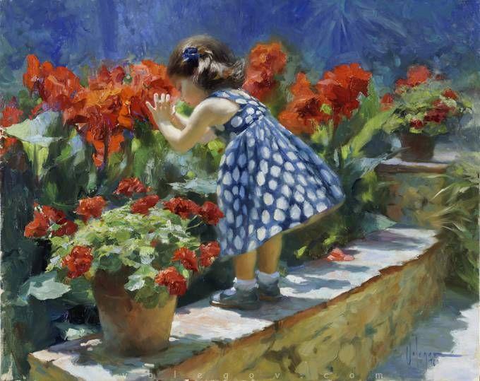 SCARLET FLOWERS, painting