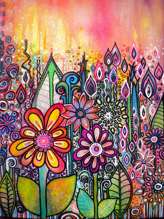 Wild Flowers 15 x 18 inch  abstract mixed media garden painting colorful flowers painting  floral drawing garden birds paintingwings