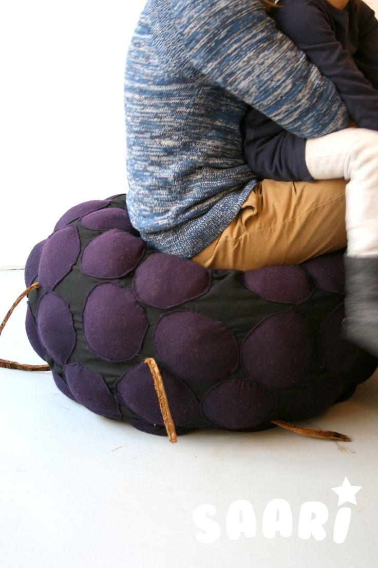 Saari_Blackberry. Kids furniture. Pouffe. Designed by Veronica Lassenius ,  handmade by Soffan Verhoomo.