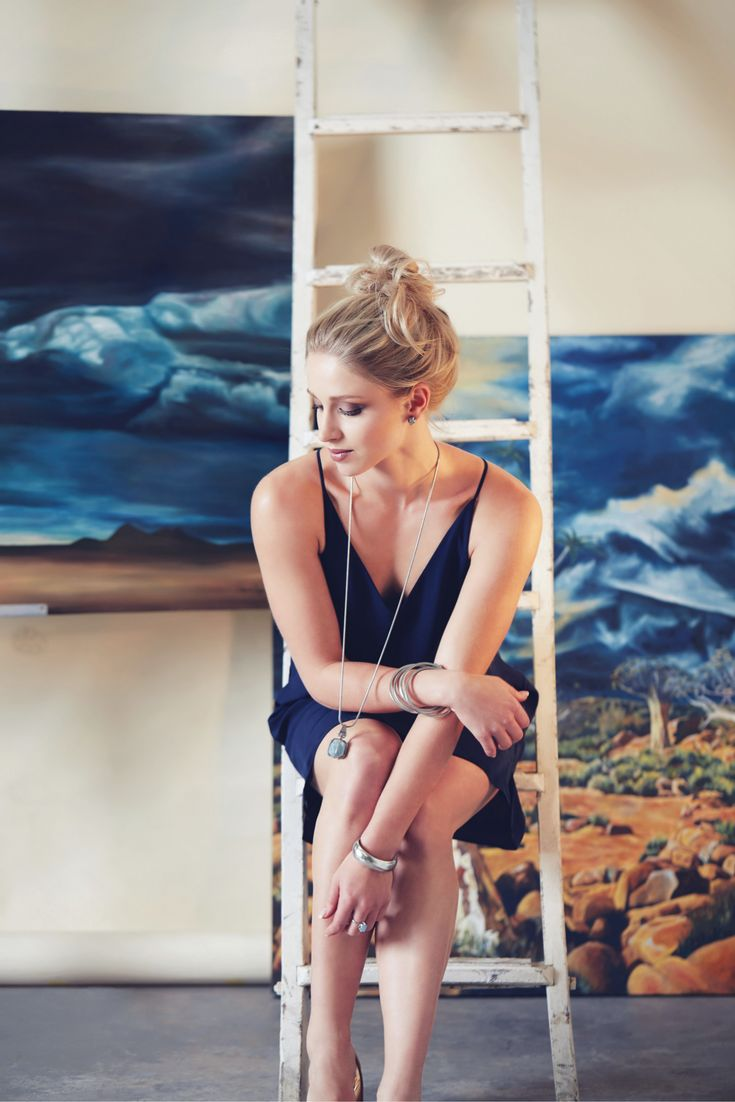 Minimalist in a navy slip dress and the Soul Slider