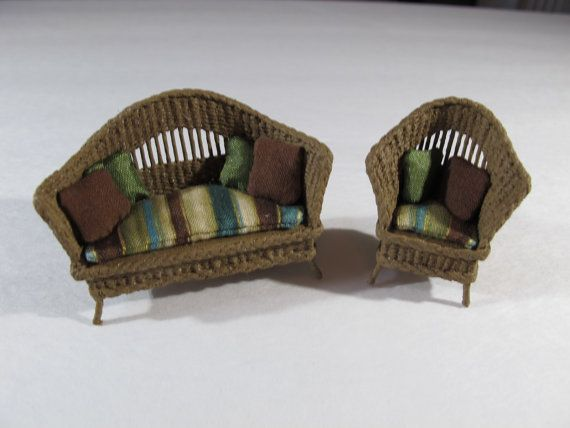 This is a half scale (1:24) wicker dollhouse furniture set, with the settee and matching chair. Each piece is carefully woven with attention to every