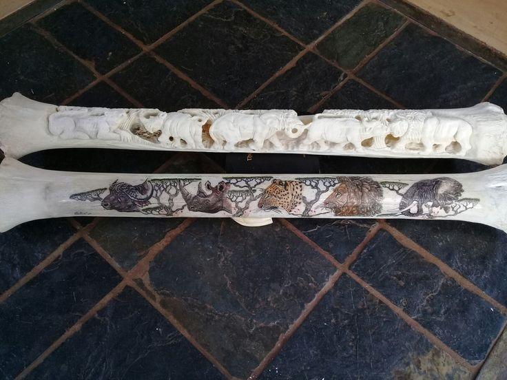 Scrimshawed & carved African big 5 on giraffe bones by Alfred Dube.