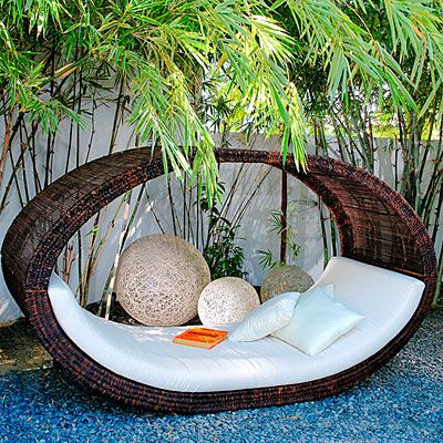 Outdoor Wicker Day Bed! LOVE this idea for the kids, while I'm working in the garden!  <3