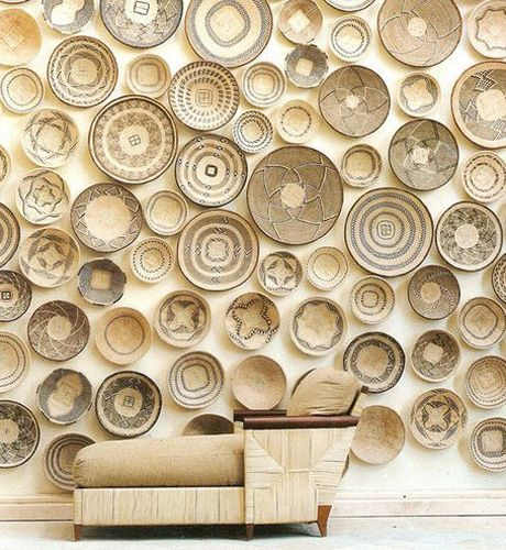 Baskets as Wall Art, Elle Decor