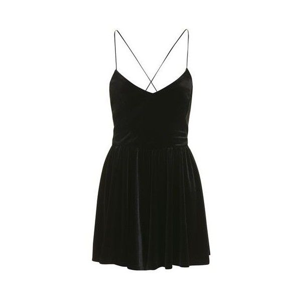 Velvet Playsuit by Nobody's Child ($31) ❤ liked on Polyvore featuring jumpsuits, rompers, dresses, black, topshop rompers, playsuit romper, velvet romper, topshop romper and velvet rompers