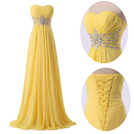 Long bridesmaid chiffon  Dresses   Yellow strapless prom  handmade Dresses Plus size Dresses Ruffles Dresses on Etsy, $110.00