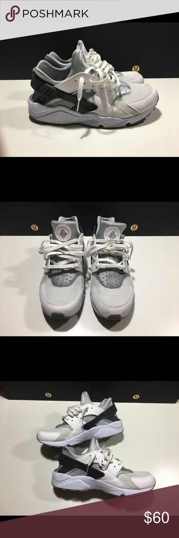 Men's Nike Air Huarache PRE OWNED White / Grey These are pre owned, I do not have the box for them, but I will double wrap them in bubble wrap and place them in a Nike bag prior to shipping them out. Unfortunately I'm not able to accommodate any trades, sorry. Thanks. Nike Shoes Athletic Shoes